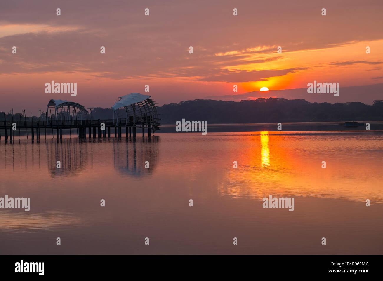 Sunrise at Lower Seletar Reservoir 2 - Stock Image