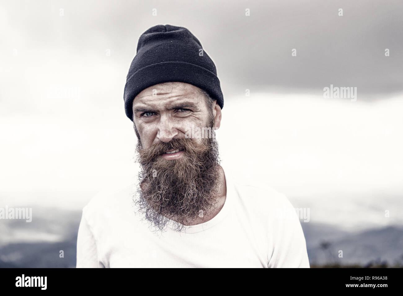 Man   bearded matured man  brutal   Hipster with long beard
