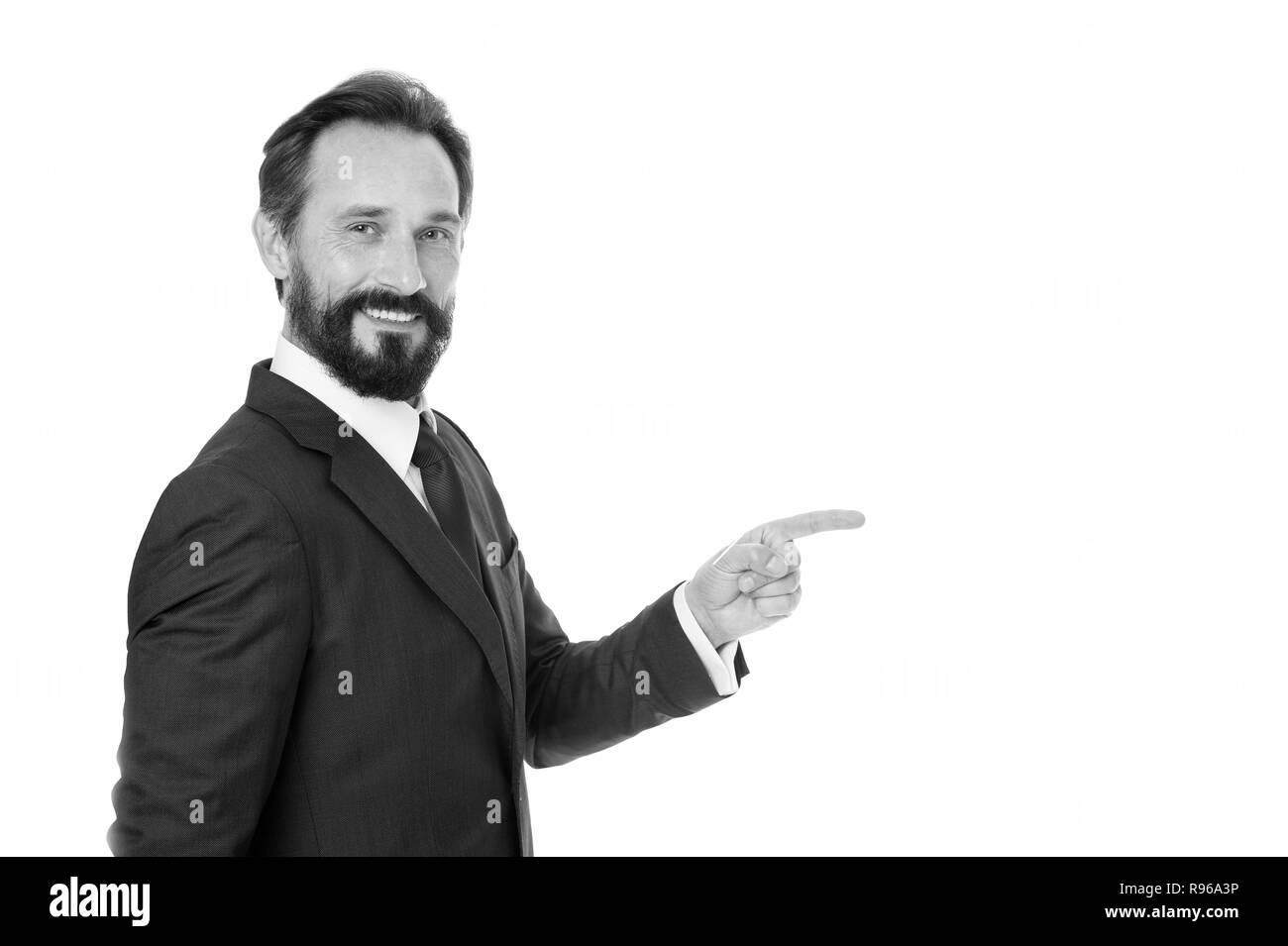 Man concept. Man pointing finger isolated on white. Bearded man in formal wear. Happy man with beard and mustache. Look at that, copy space. - Stock Image