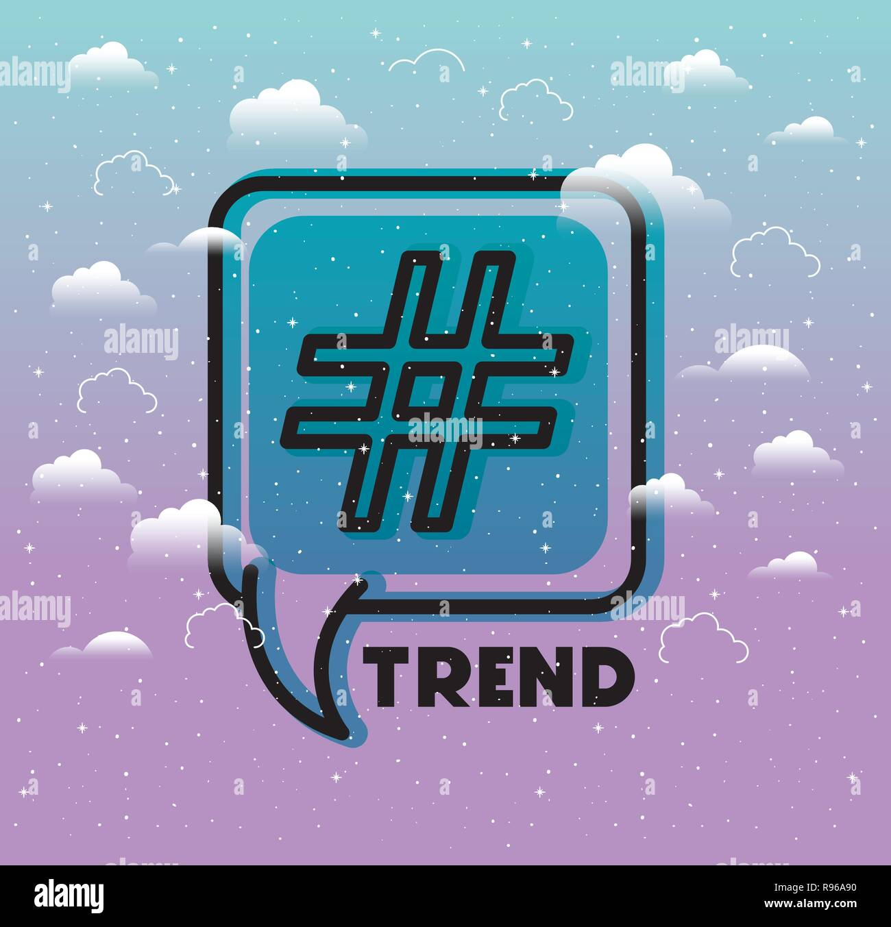speech bubble with trend symbol - Stock Image