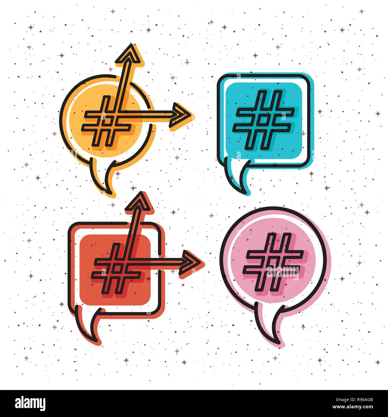 set of speech bubbles with trend symbol and arrows - Stock Image