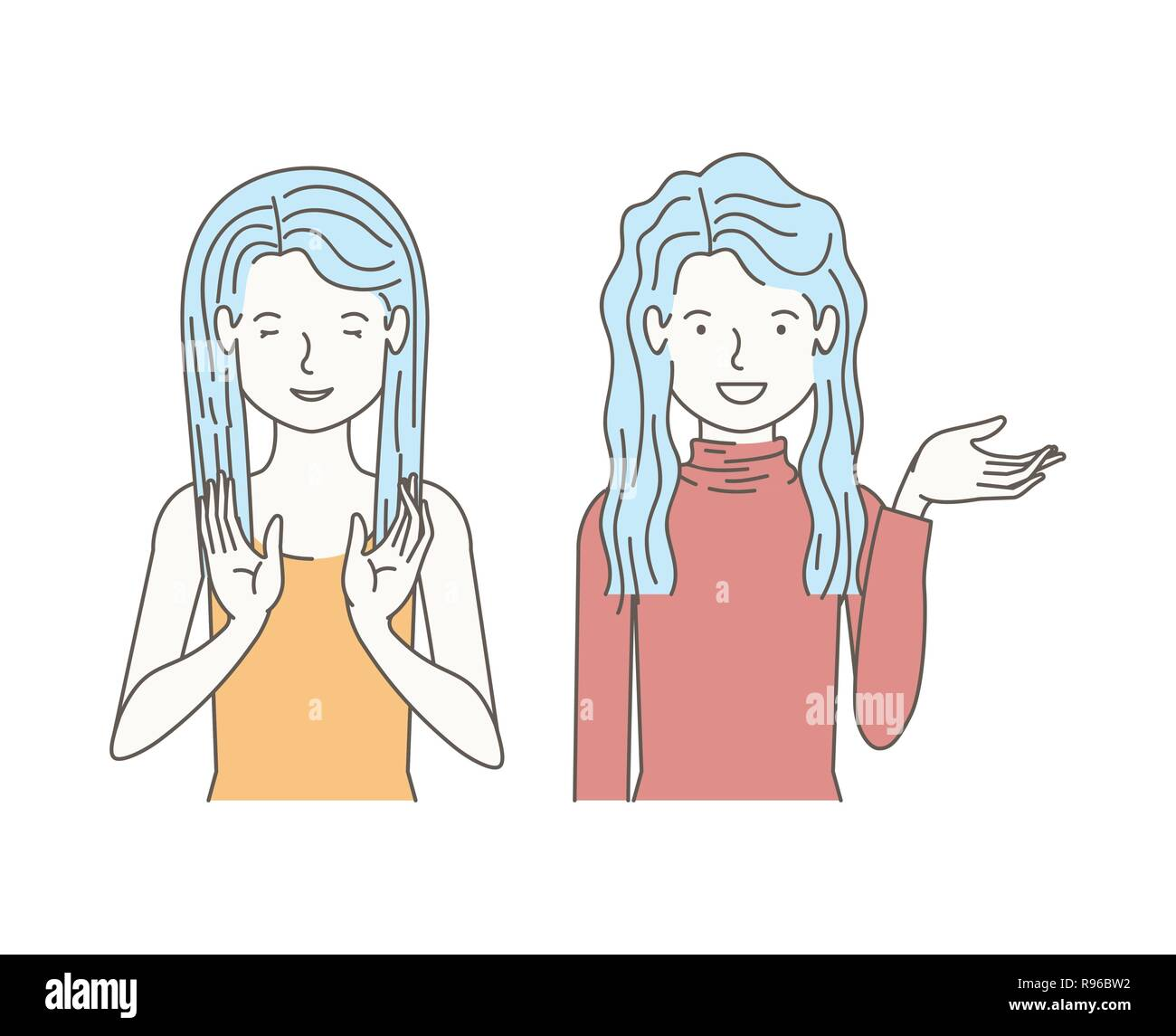 couple of girls talking avatars characters Stock Vector