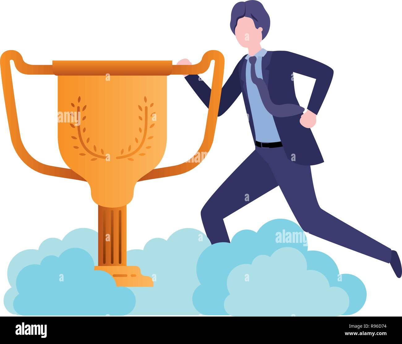 businessman in the clouds with trophy avatar character - Stock Image