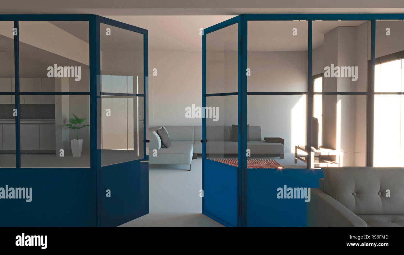 Parete Ferro E Vetro glass wall in blue, iron and glass, living room, living