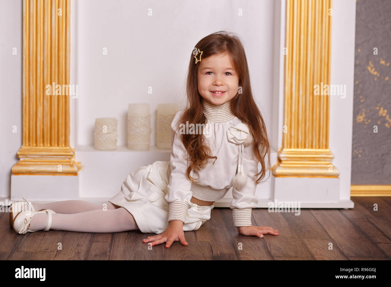 5779e74ac113 Young brunette dolly lady girl stylish dressed in white skirt midi ...