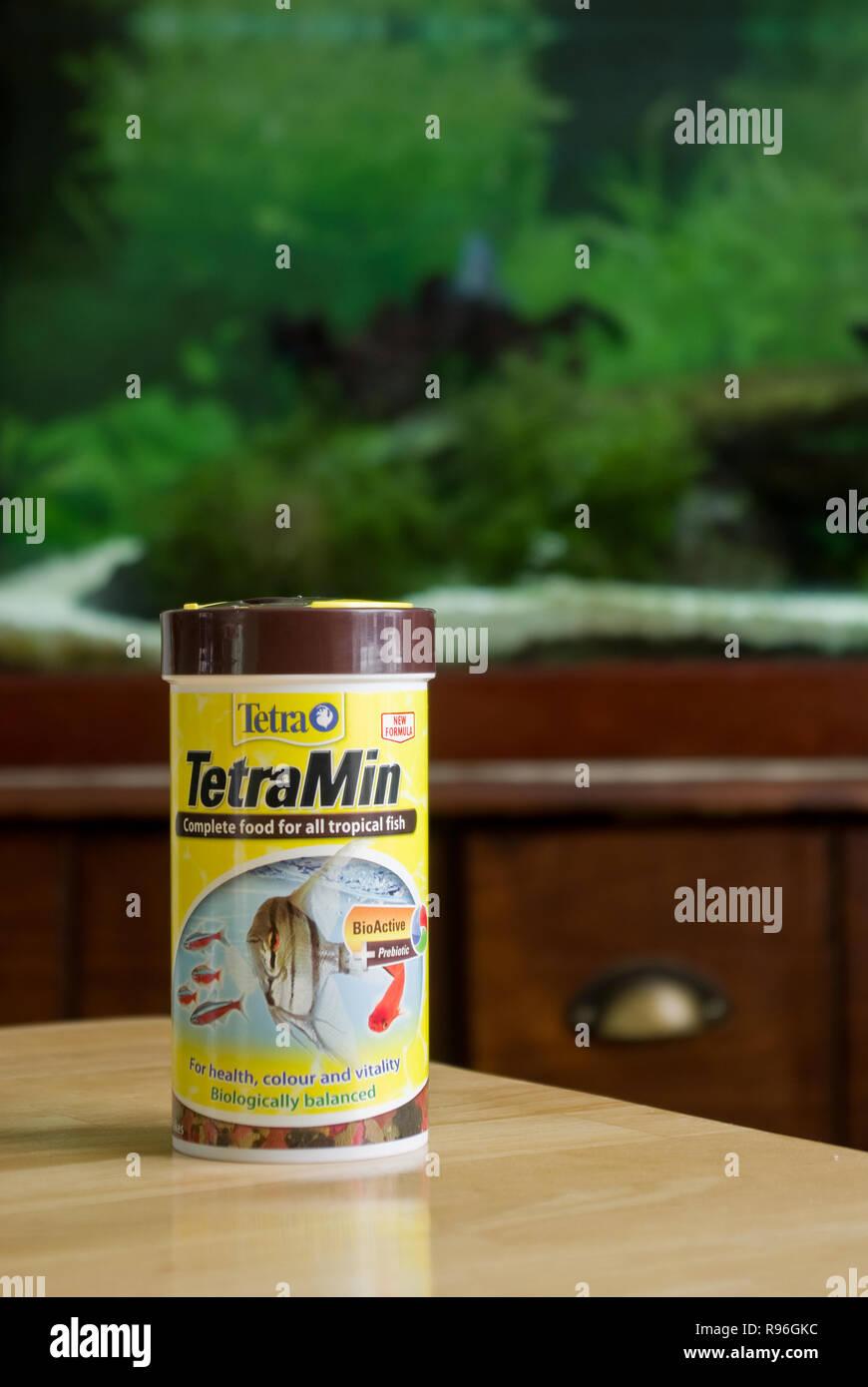 Tetra Tetramin Tropical Freshwater Fish Flake Food - Stock Image
