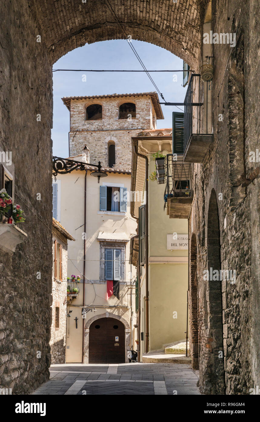 Via Claudio Sforza, street in historic center of Narni, Umbria, Italy - Stock Image