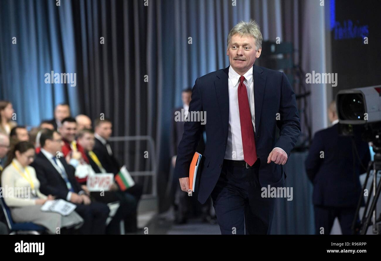 Moscow, Russia. 20th December, 2018. Russian Presidential spokesman Dmitry Peskov, arrives at the start of the annual year end press conference for President Vladimir Putin December 20, 2018 in Moscow, Russia. Credit: Planetpix/Alamy Live News - Stock Image