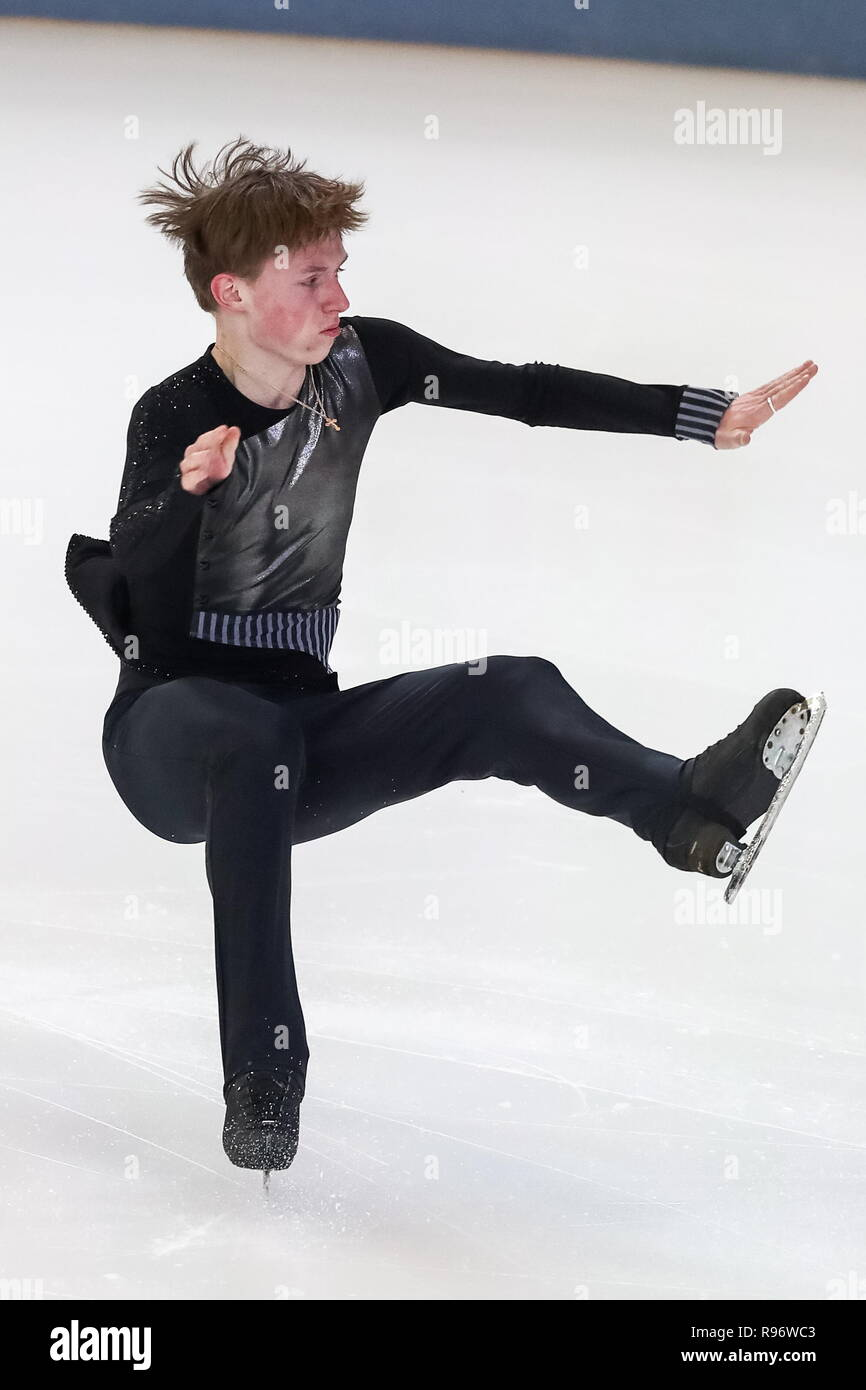 Saransk, Russia. 20th Dec, 2018. SARANSK, RUSSIA - DECEMBER 20, 2018: Alexander Petrov competes in the men's short programme event at the 2019 Russian Figure Skating Championships (2019 Rostelecom Russian Nationals) at the Mordovia Republic Ice Arena. Stanislav Krasilnikov/TASS Credit: ITAR-TASS News Agency/Alamy Live News - Stock Image