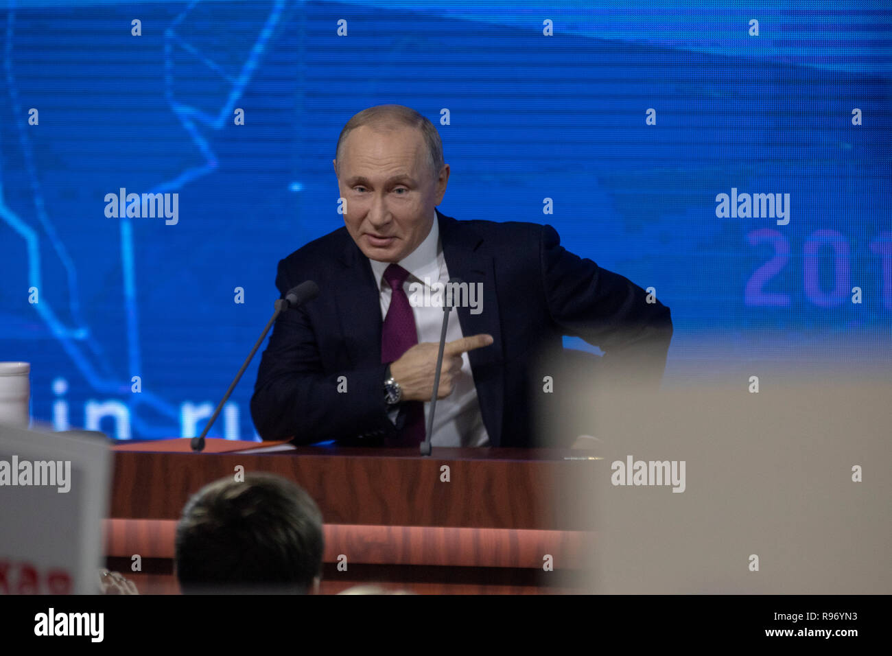 Moscow, Russia. 20th December, 2018: Russia's President Vladimir Putin gives an annual end-of-year press conference at Moscow's World Trade Centre Credit: Nikolay Vinokurov/Alamy Live News - Stock Image