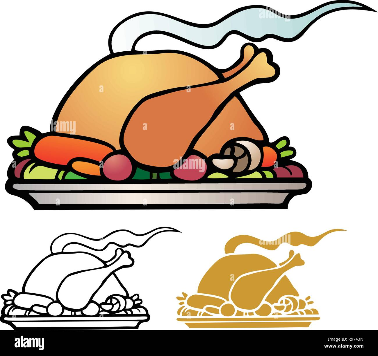 roasted turkey with lots of trimmings - Stock Vector
