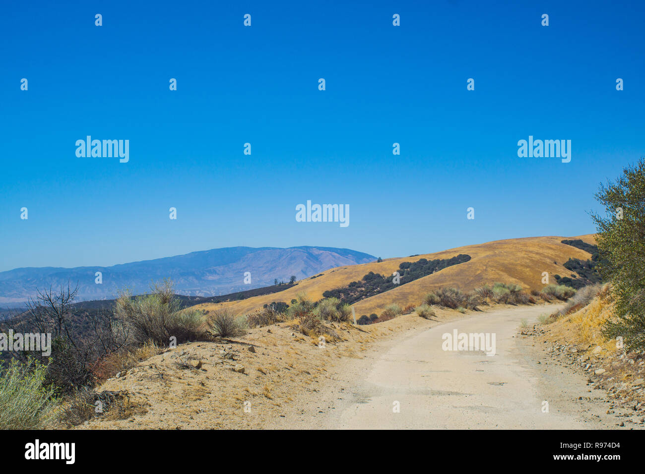 Rough road on the edge of a mountain in the National Forest of southern California. - Stock Image