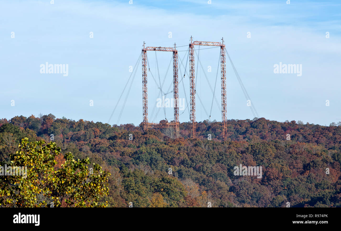 Towers to suspend Nuclear reactor X-10 Oak Ridge Reservation.  to check radiation. for Turbo Prop Aircraft  NB-36H. - Stock Image