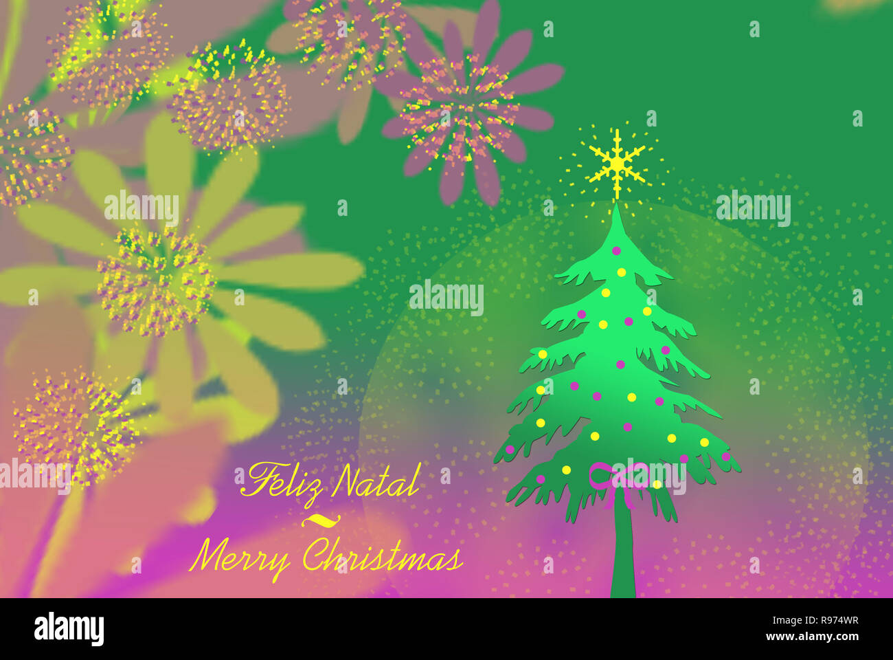 Merry Christmas Card Illustration  with text written in Portuguese and English. Stock Photo