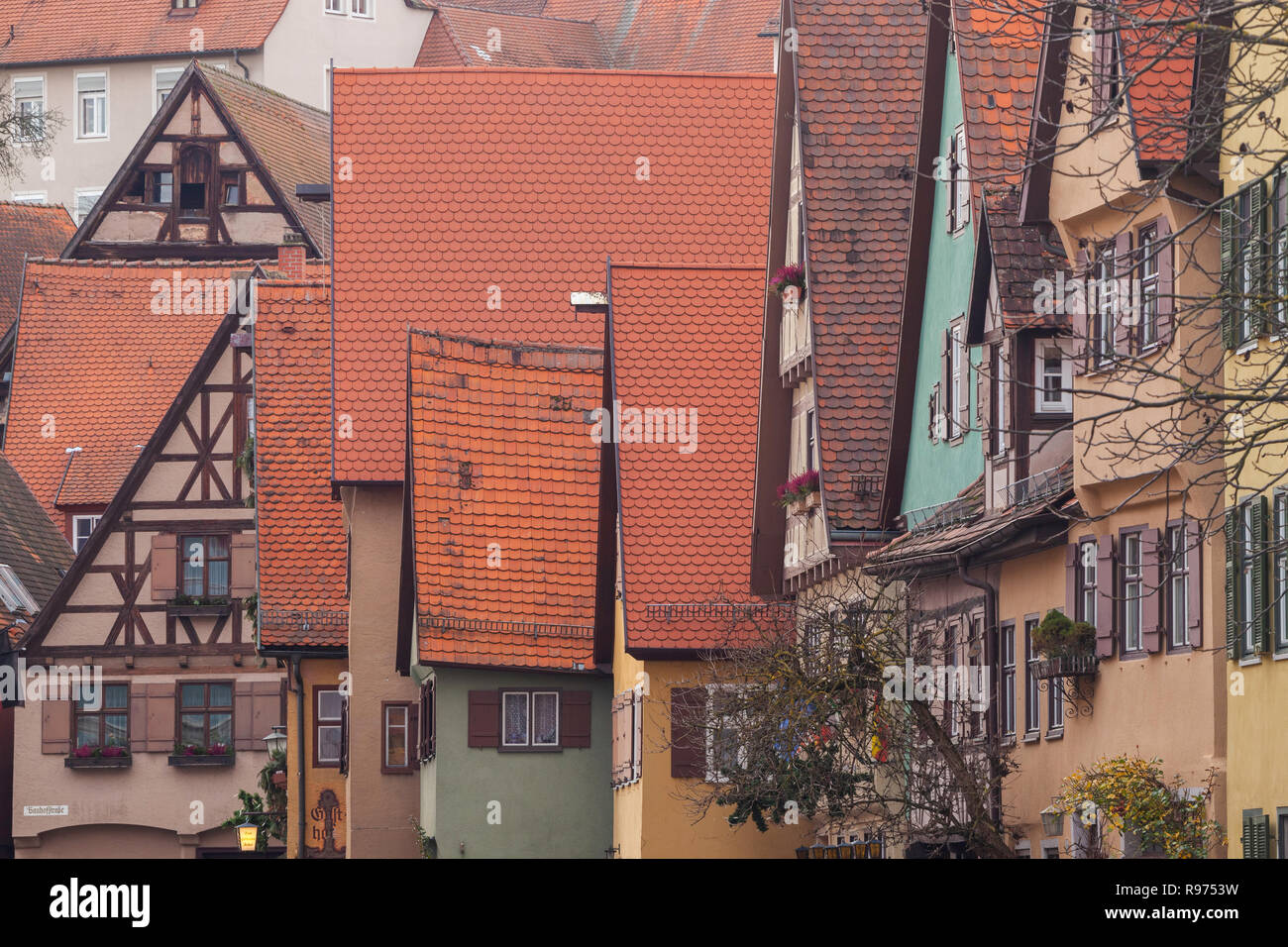 Red roofs, Dinkelsbuhl, Germany - Stock Image