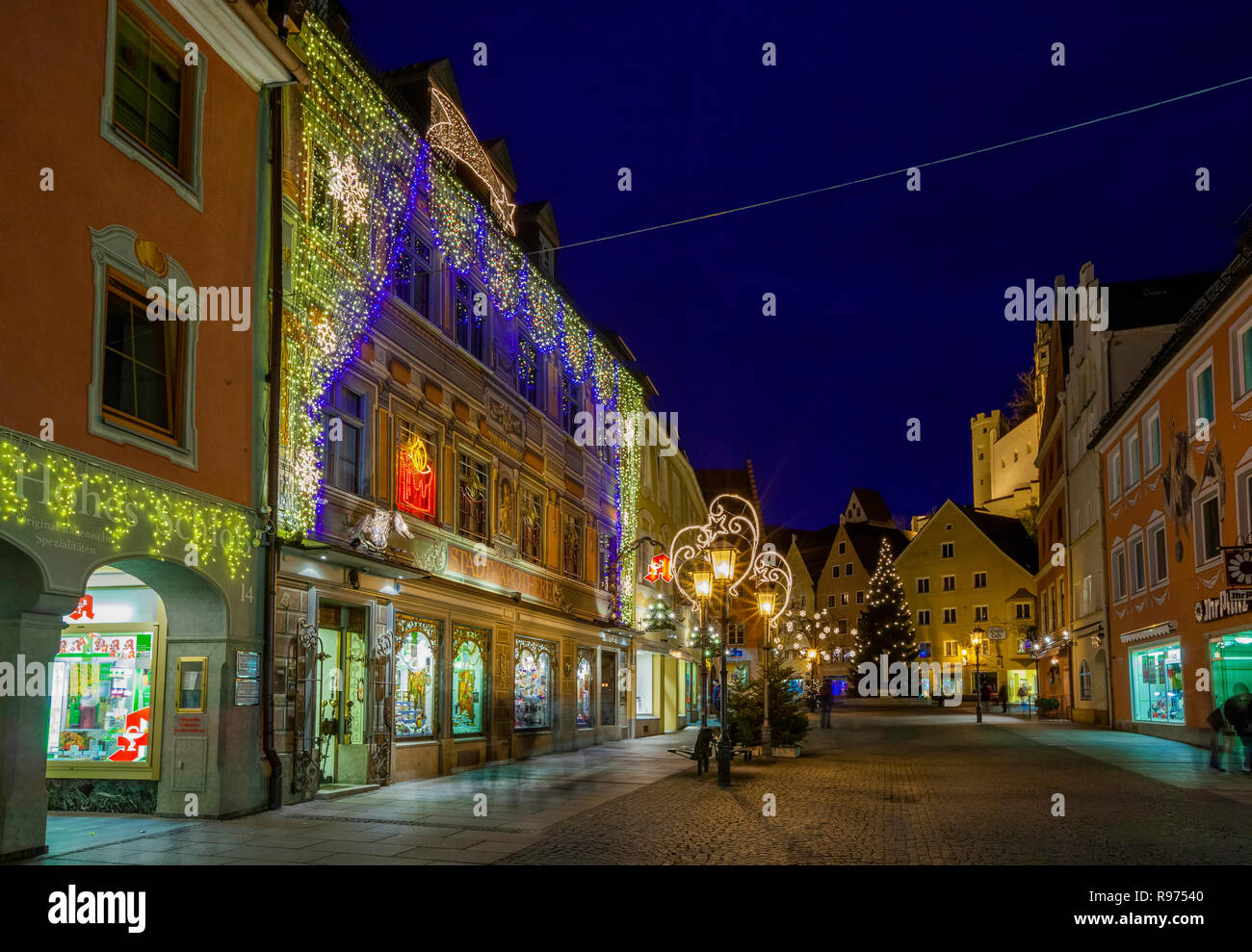 Christmas decorations, Fussen, Germany - Stock Image
