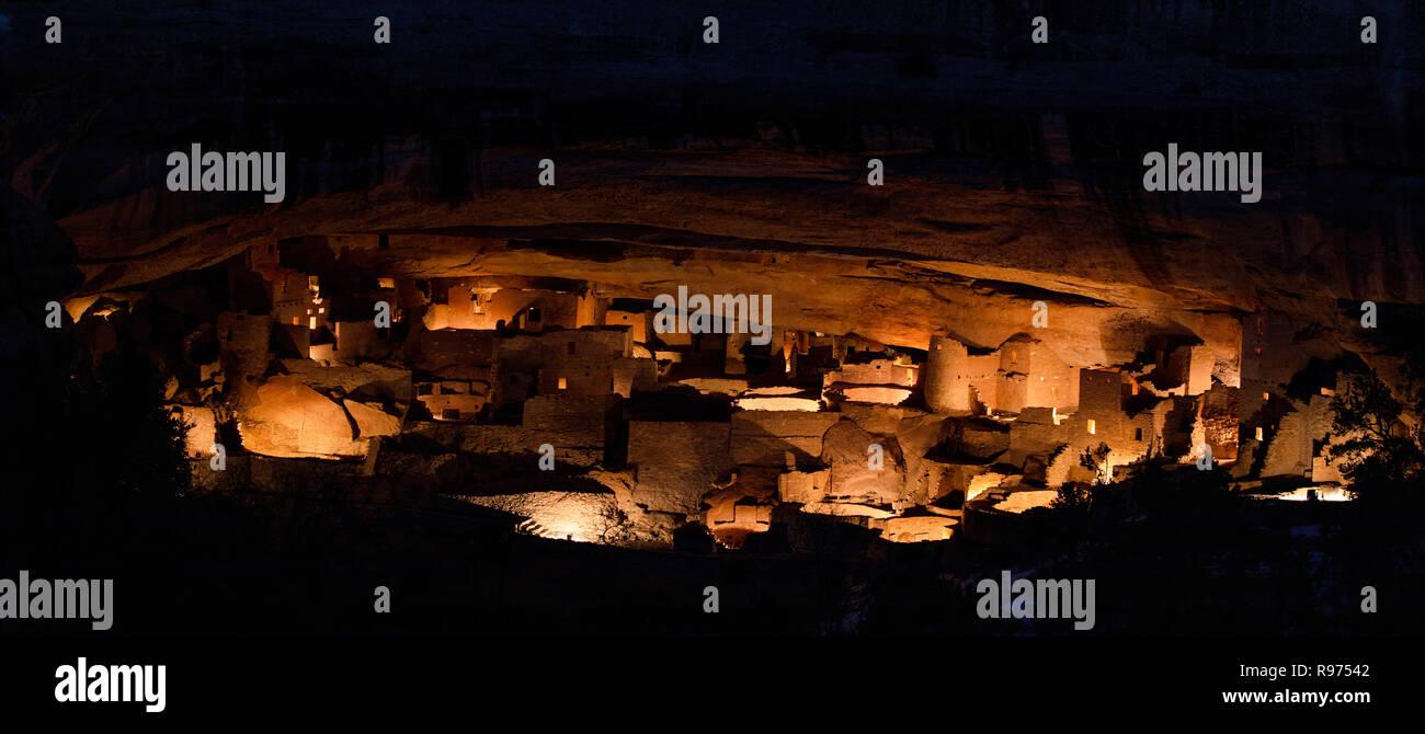 Luminaria at the Cliff Palace, Mesa Verde National Park, Colorado - Stock Image