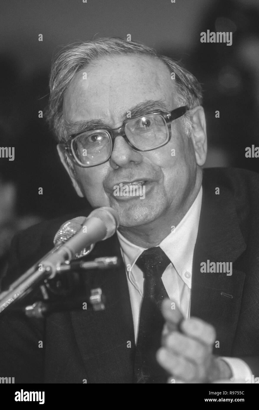 WASHINGTON, DC, USA - SEPTEMBER 4, 1991: Warren Buffett, Chairman Salomon Brothers, testifies before U.S. House Subcmte. on Telecommunications. - Stock Image