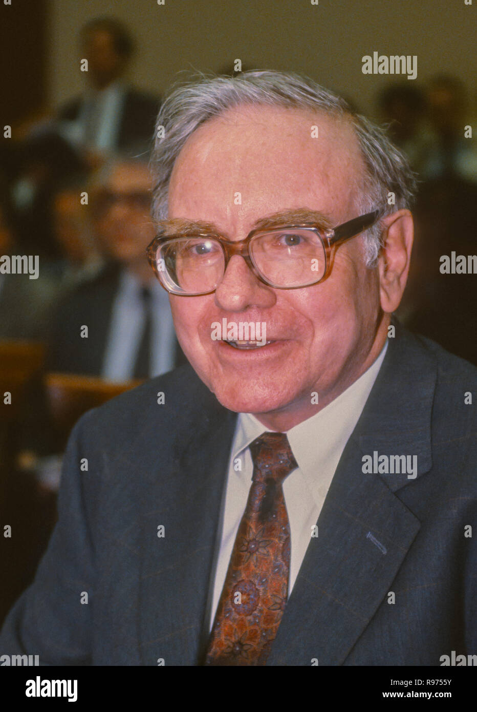 WASHINGTON, DC, USA - SEPTEMBER 4, 1991: Warren Buffett, Chairman Salomon Brothers, appears before U.S. House Subcmte. on Telecommunications. - Stock Image