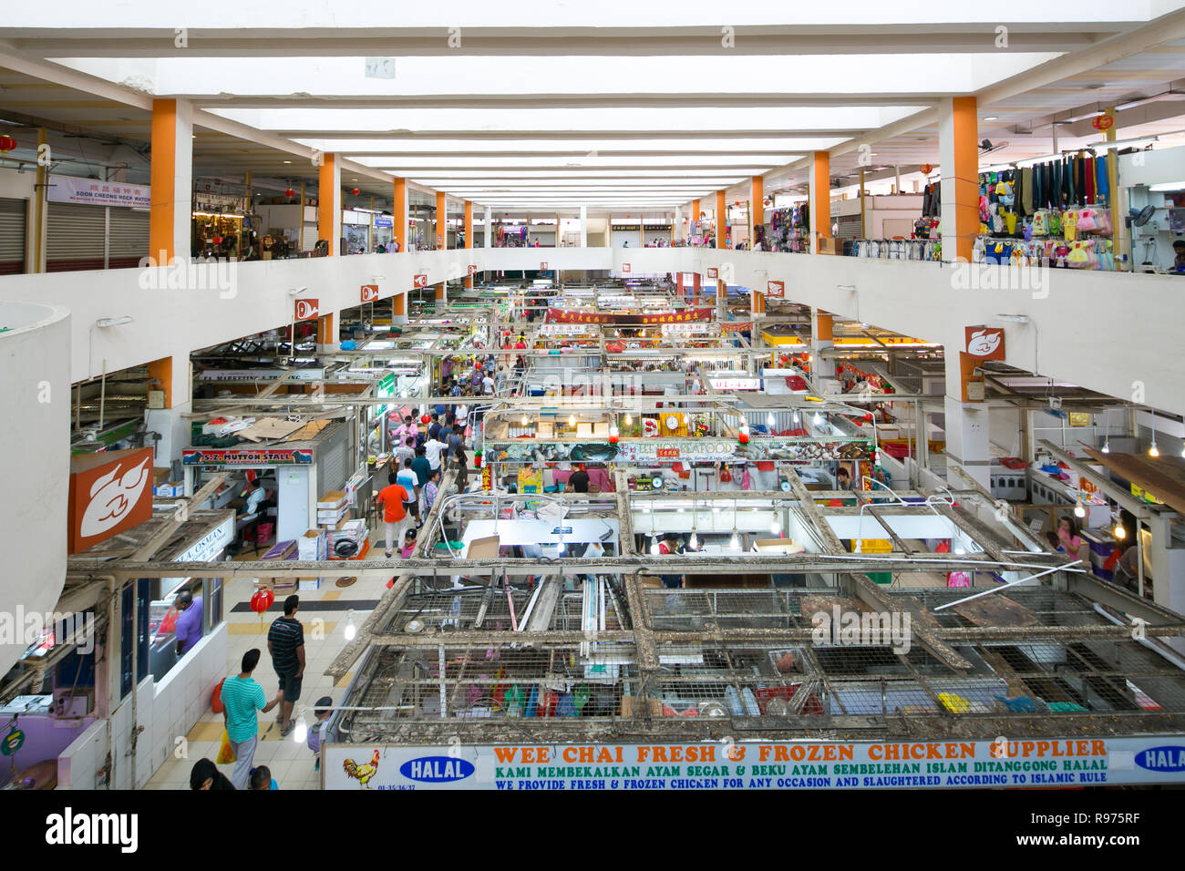A wide view of Tekka Market in Tekka Centre at Little India, Singapore. Stock Photo