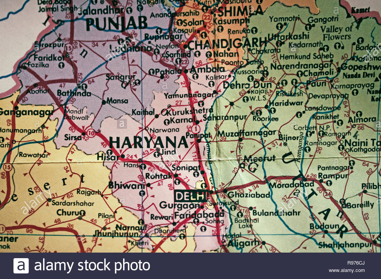 Old tourist map of India. India. - Stock Image
