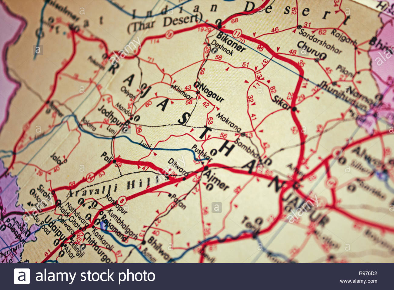 Tourist road map of India. Close up on India map with soft focus. - Stock Image