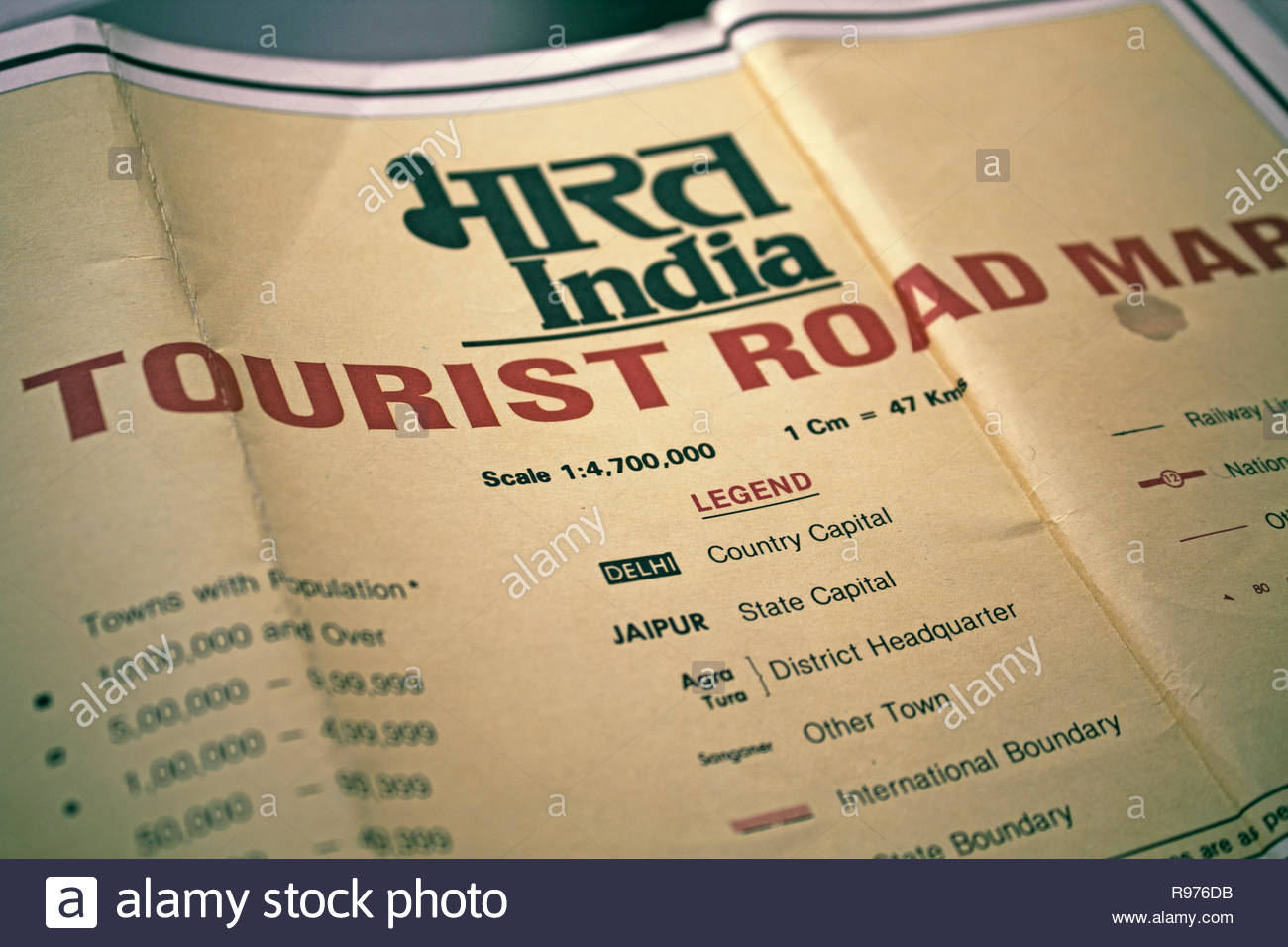Old tourist map of India. Map legend. - Stock Image
