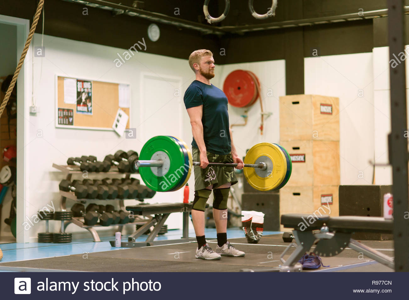 Young man lifting a barbell in a gym - Stock Image