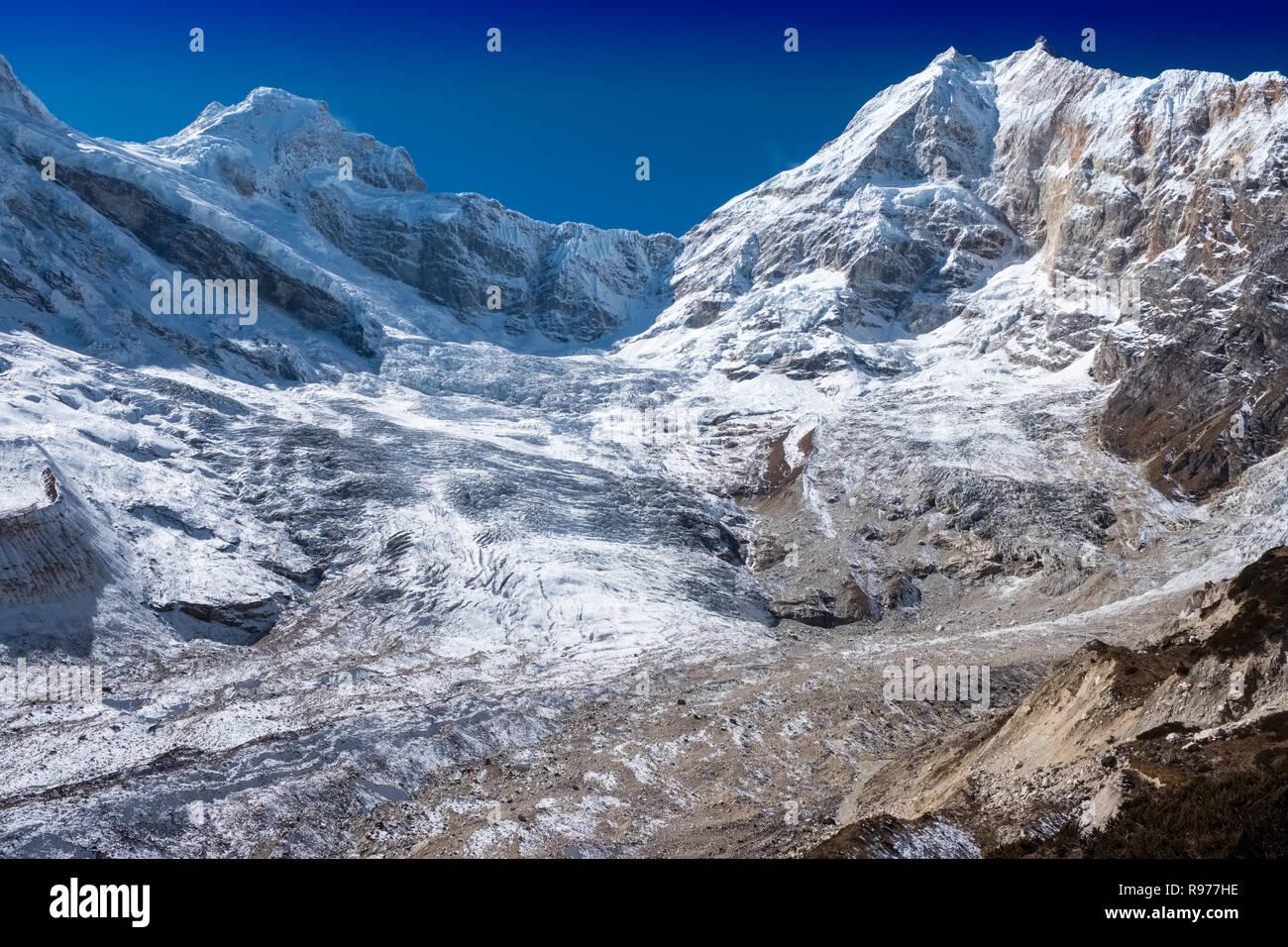 Manaslu peak and glacier in the Nepal Himalaya - Stock Image