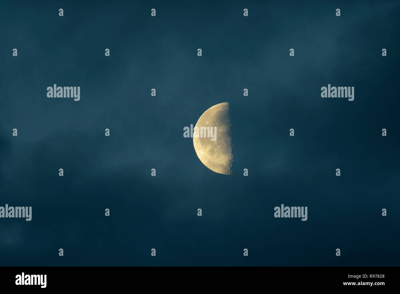 Half moon at night in Sweden - Stock Image