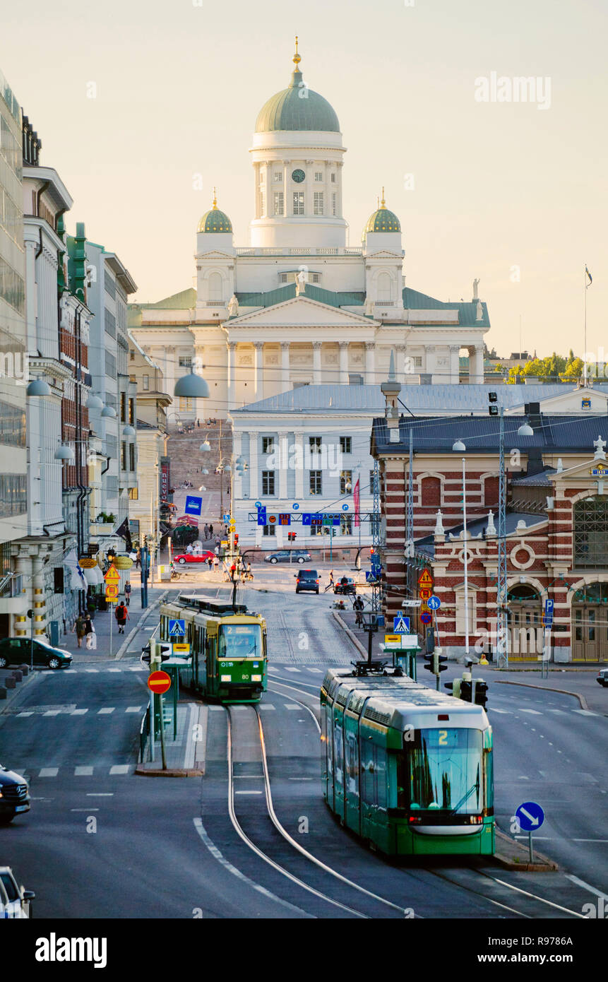 Streetcars by Helsinki Cathedral, Finland - Stock Image