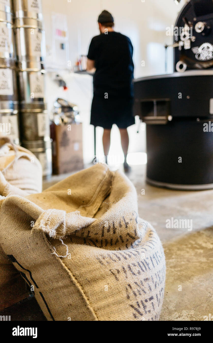 Coffee sacks in a coffee roasting business in Sweden - Stock Image