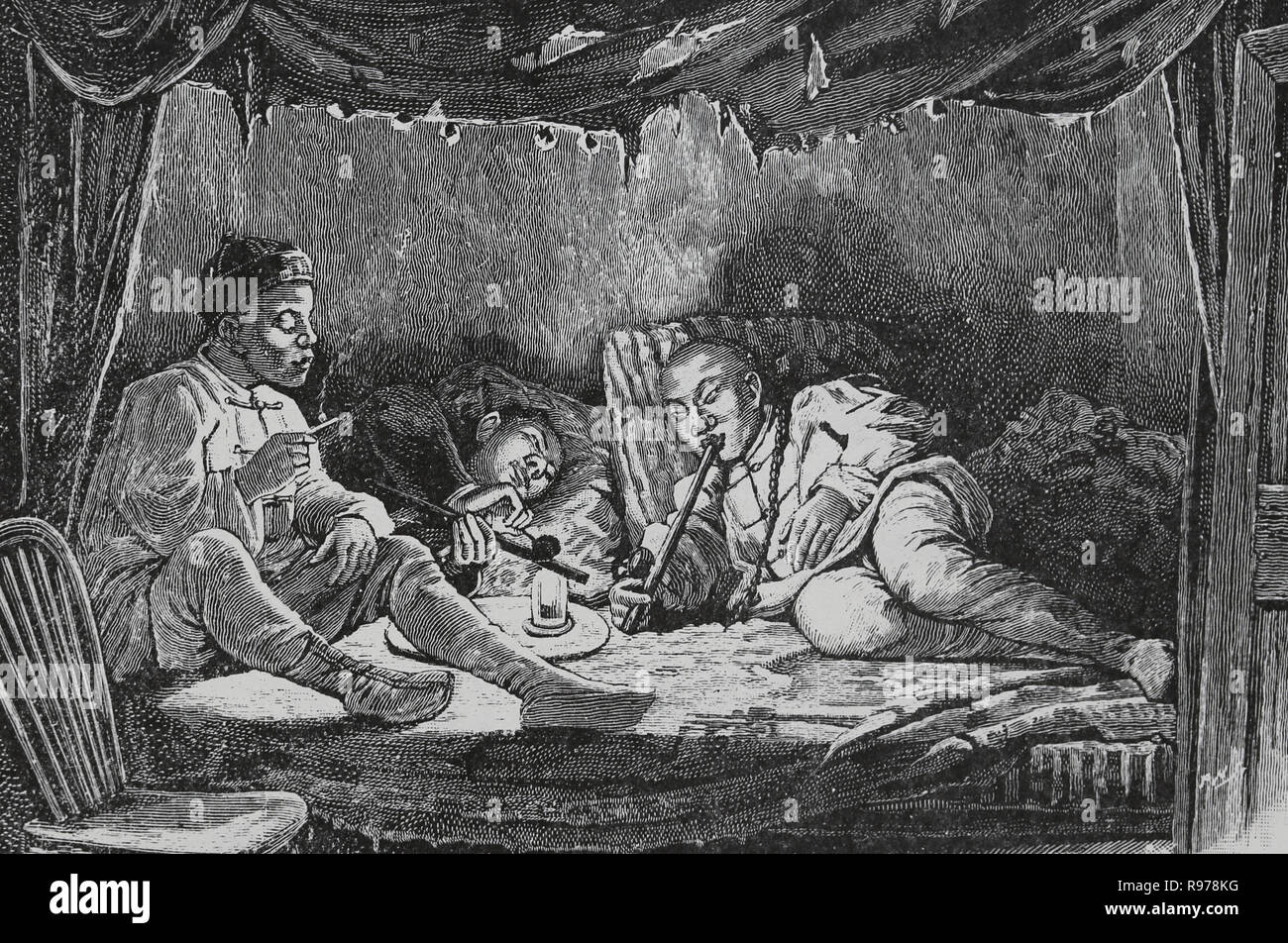 Opium smokers in a opium den  Engraving, 19th century Stock Photo