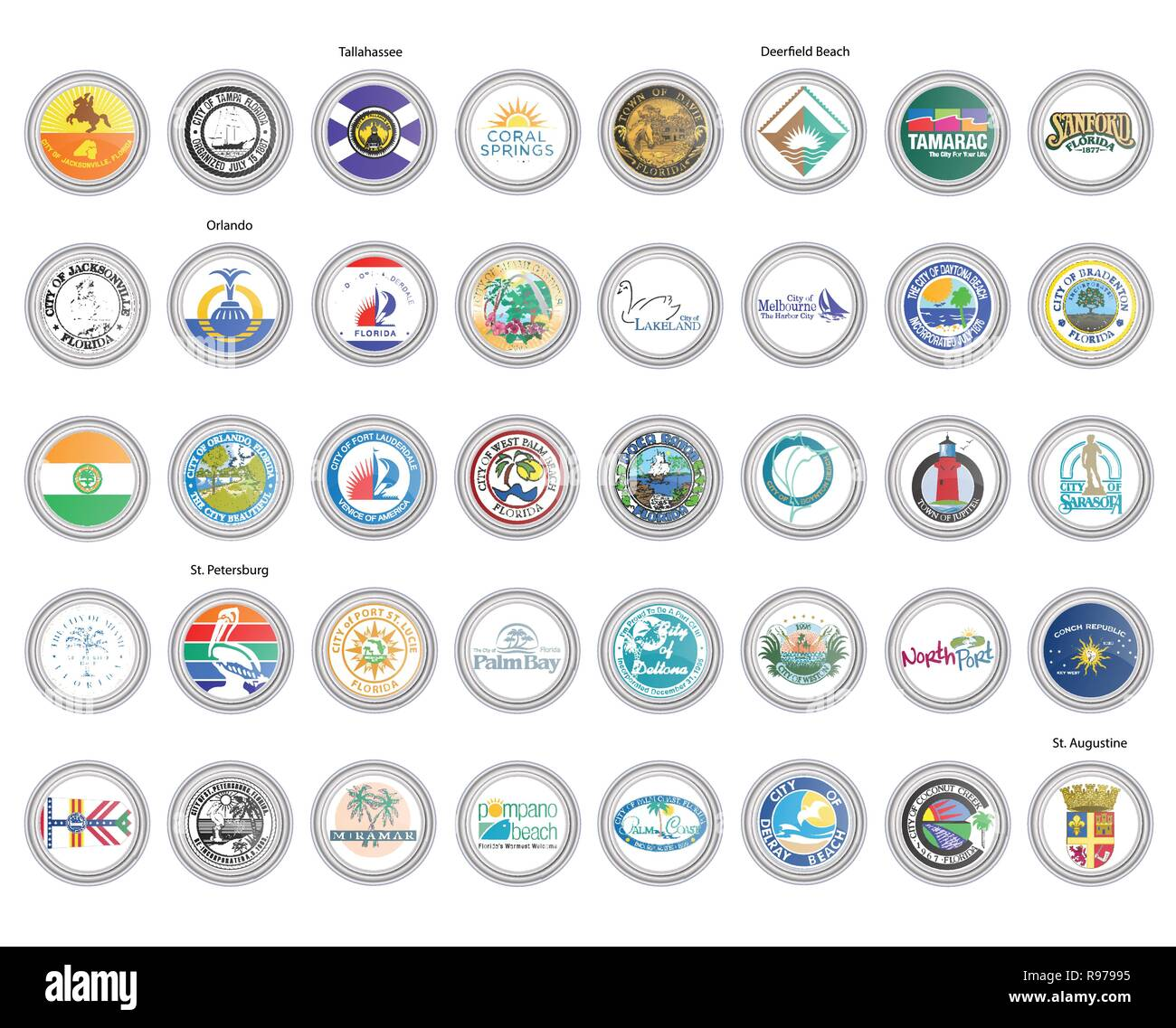 Set of vector icons. Flags and seals of Florida state, USA. 3D illustration. - Stock Image
