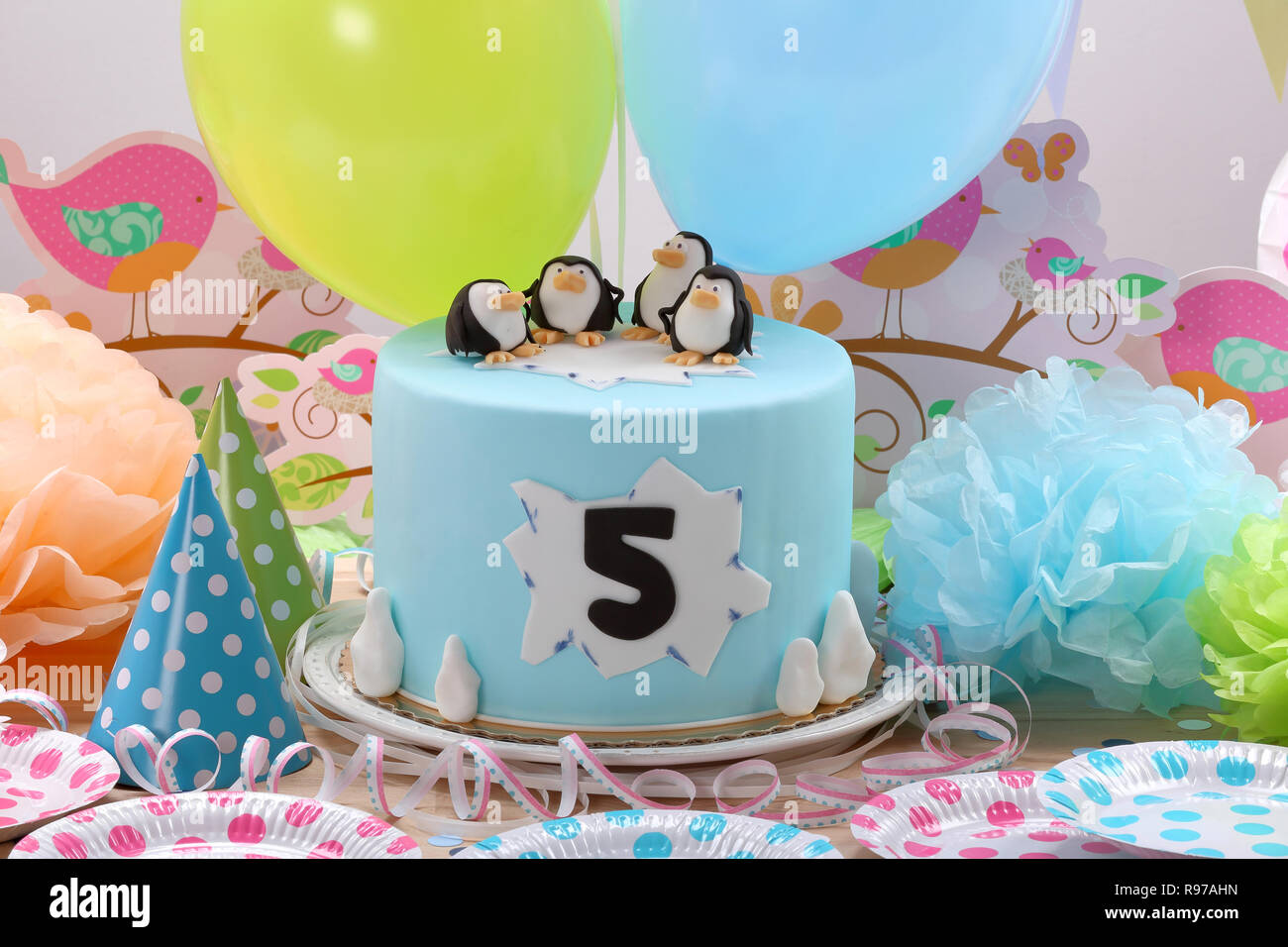 Surprising Birthday Cake With Penguins And Space For Text Stock Photo Funny Birthday Cards Online Unhofree Goldxyz