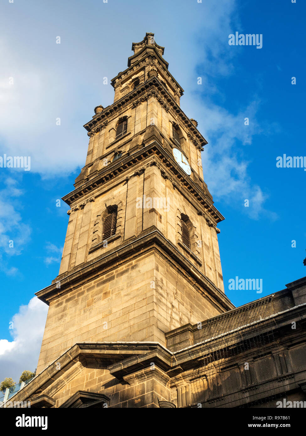 Holy Trinity Church Steeple Boar Lane Leeds West Yorkshire England - Stock Image