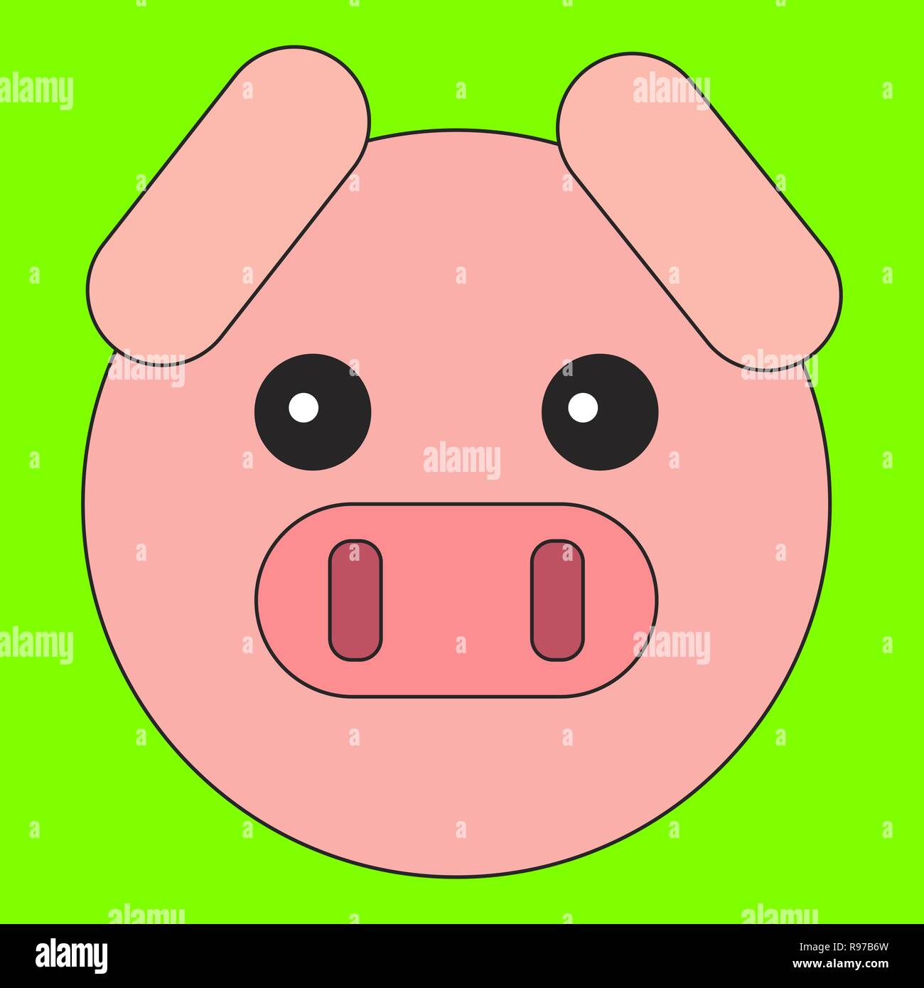 Pig Head In Cartoon Flat Style Vector Illustration On Color Background Stock Vector Image Art Alamy