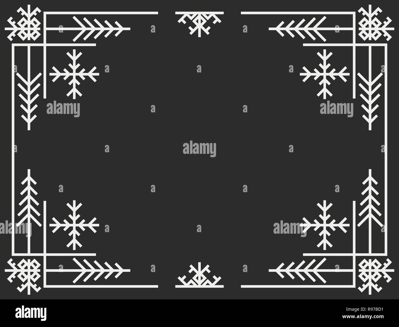 Christmas Art Deco Frame Vintage Linear Border Design A