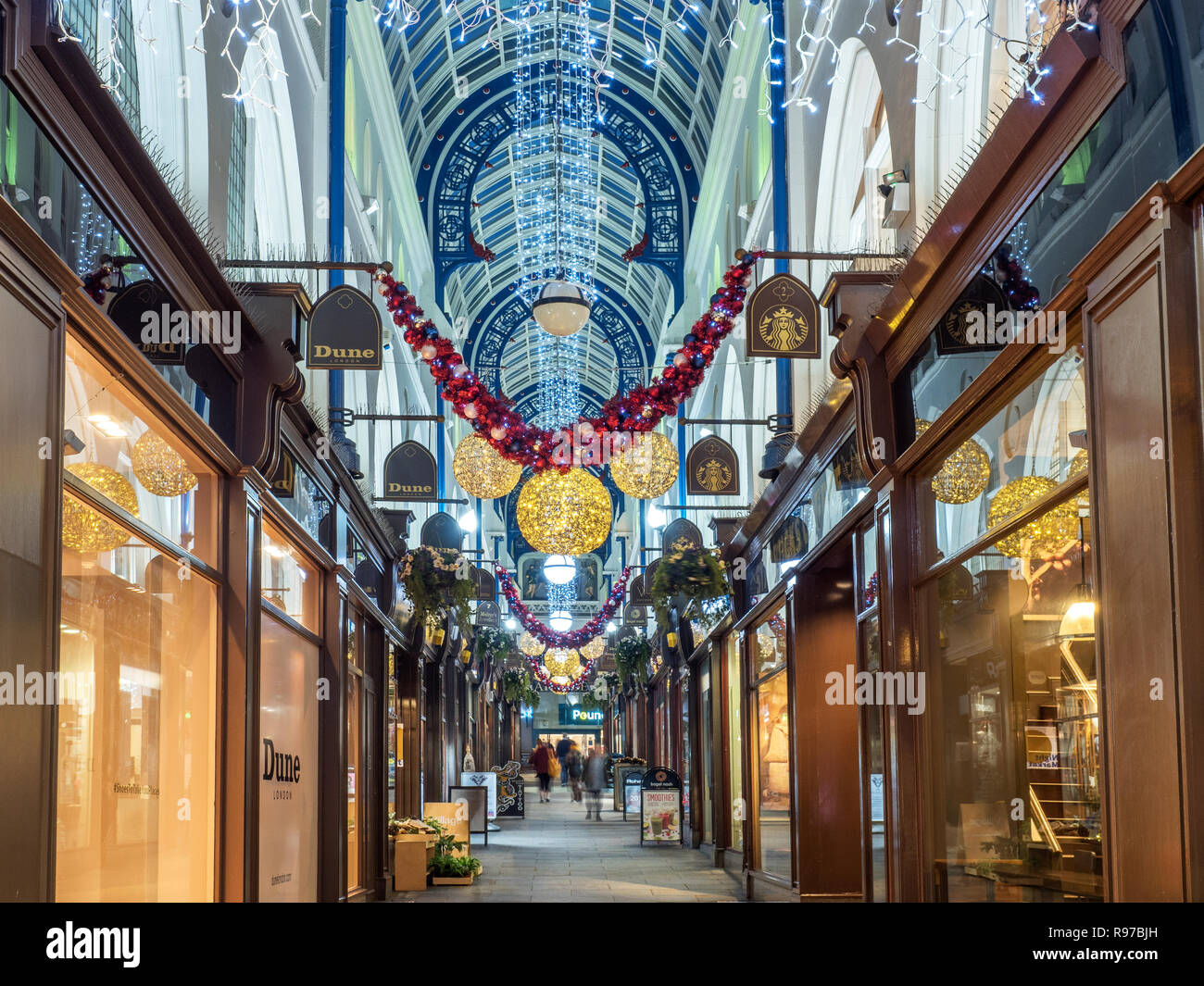 Christmas decorations in Thorntons Arcade from Briggate in Leeds West Yorkshire England - Stock Image