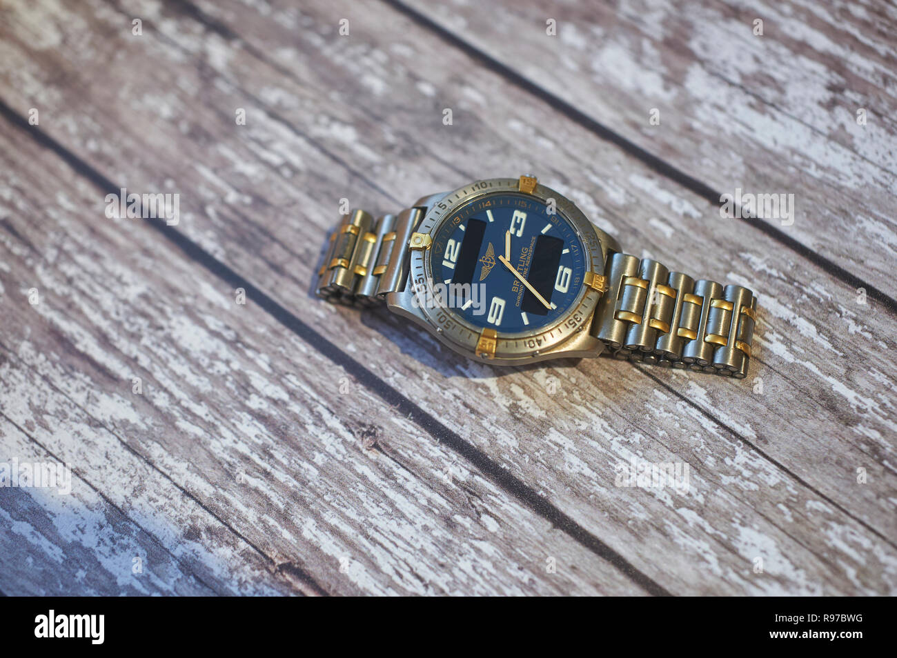 Breitling Aerospace aviation chronograph on a wooden table top Stock Photo