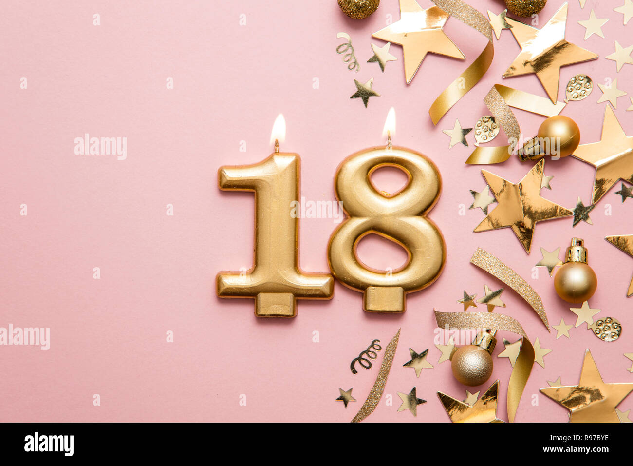 Rose Gold Glitz Number Age  18//18th Birthday Candle