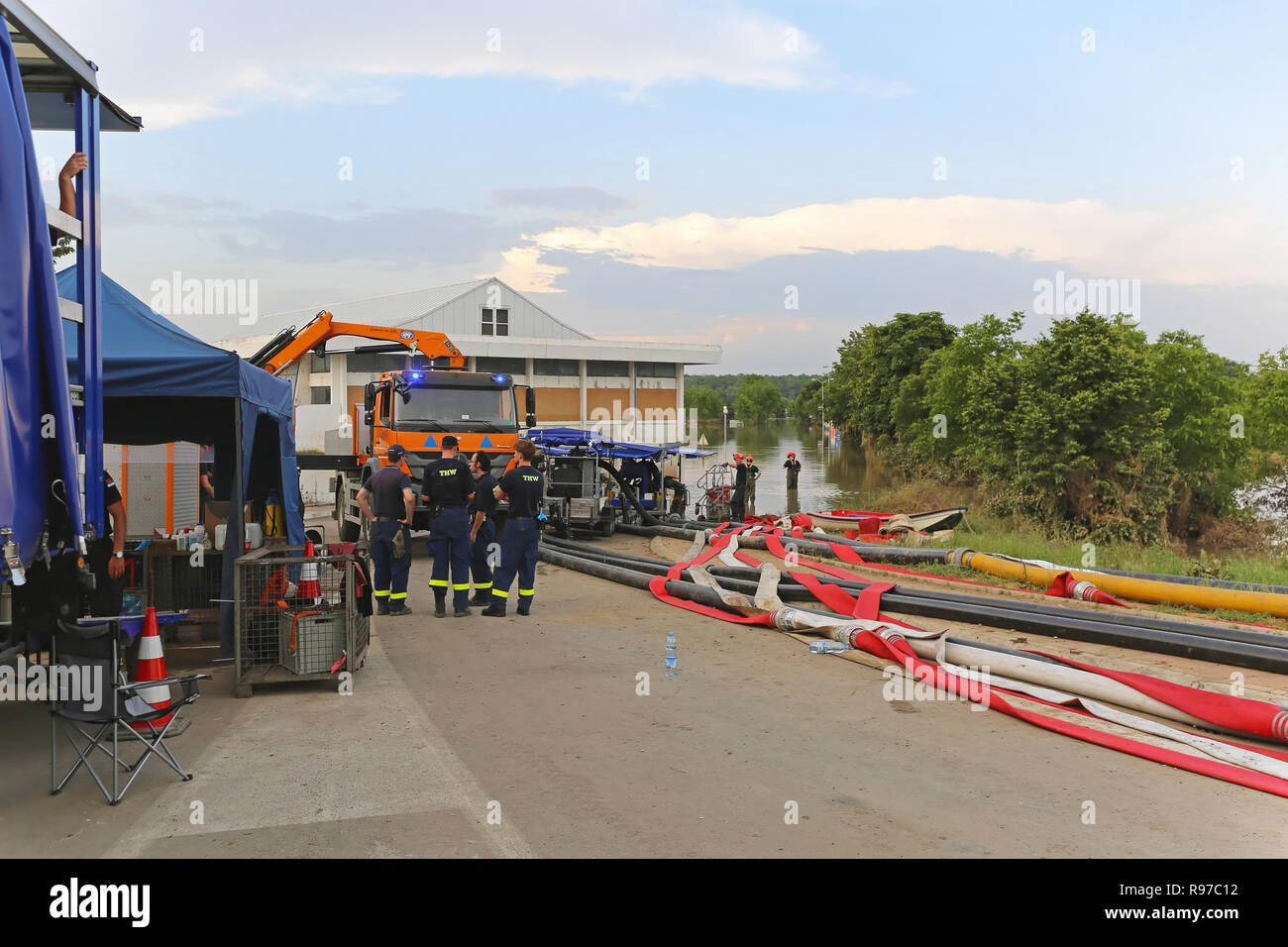 OBRENOVAC, SERBIA - MAY 24: Emergency service THW in Obrenovac on MAY 24, 2014. Germany Federal Agency for Technical Relief during floods in Obrenovac - Stock Image