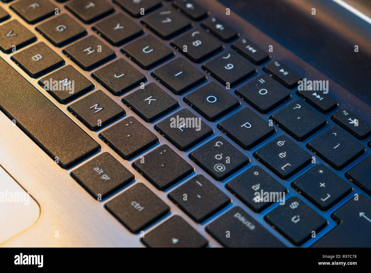 c39dbe9c7b4 English keyboard of a latest generation and new generation computer. - Stock  Image