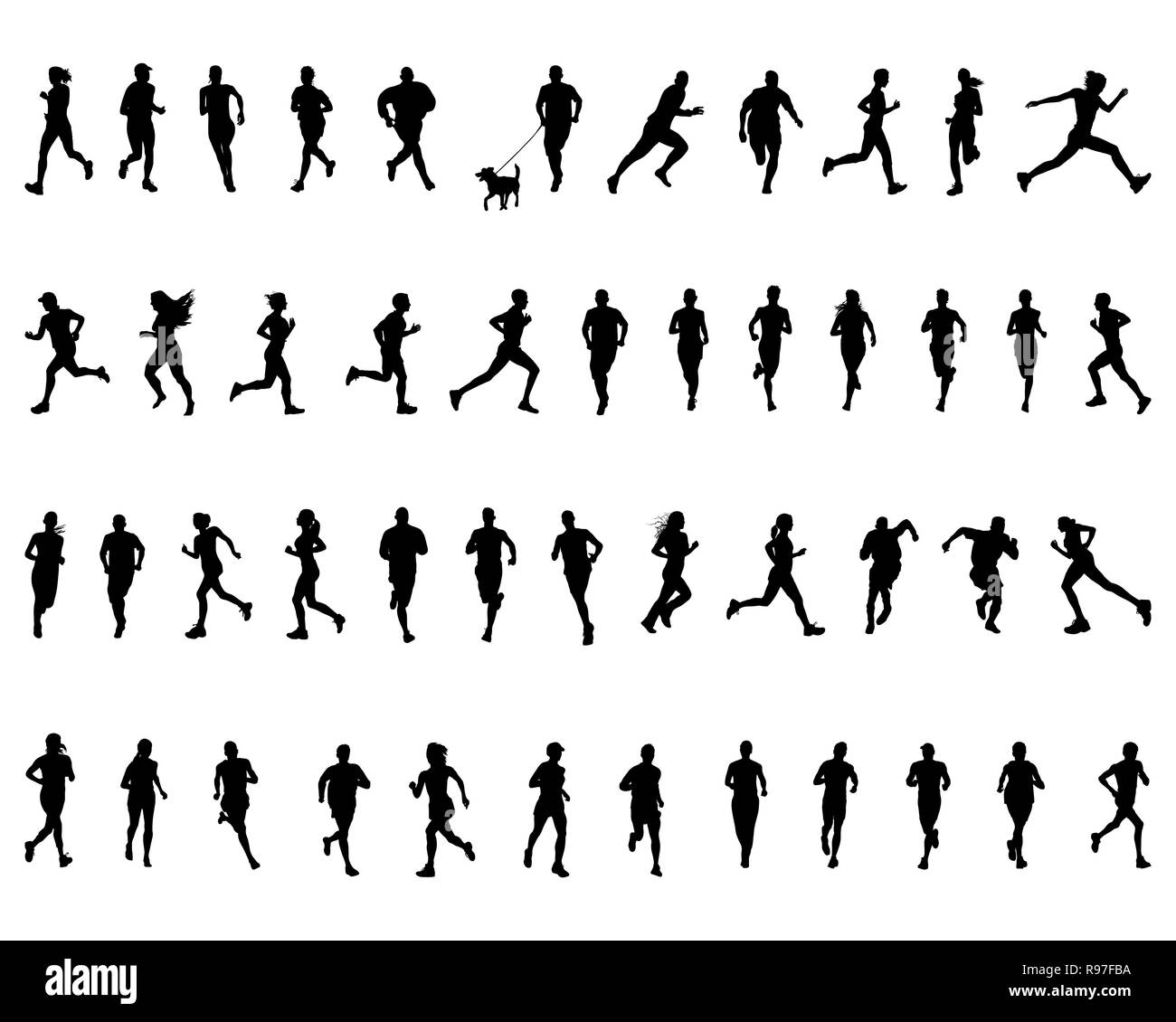Black silhouettes of running on a white background - Stock Image