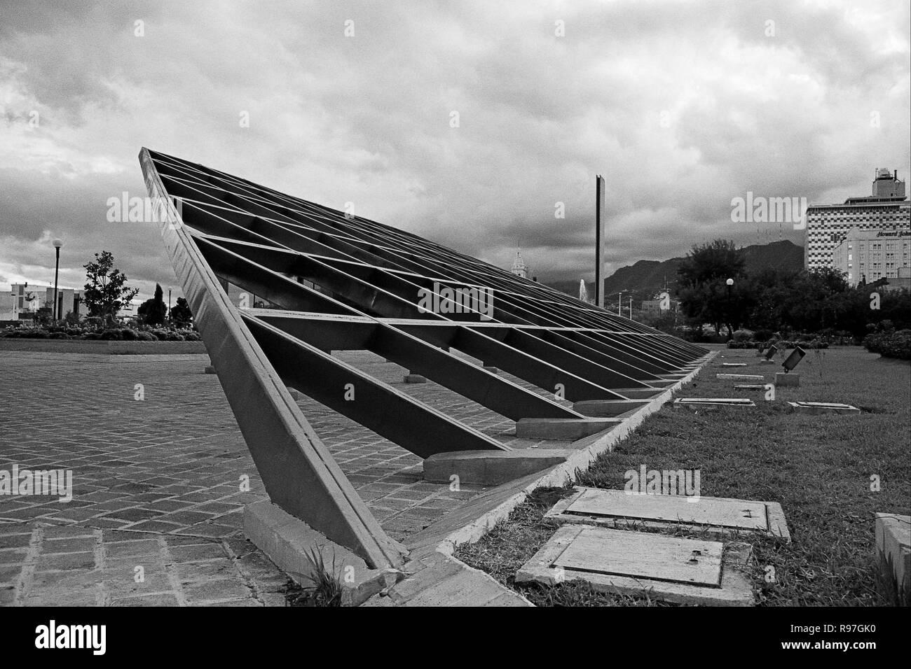 MONTERREY, NL/MEXICO - NOV 10, 2003: Unidentified steel sculpture at the Macroplaza Stock Photo