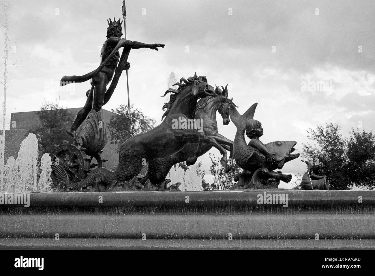 MONTERREY, NL/MEXICO - NOV 10, 2003: Neptuno fountain at the Macroplaza Stock Photo