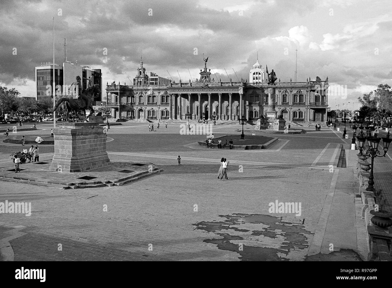 MONTERREY, NL/MEXICO - NOV 10, 2003: View of the Macroplaza and the Governor's palace on the background Stock Photo