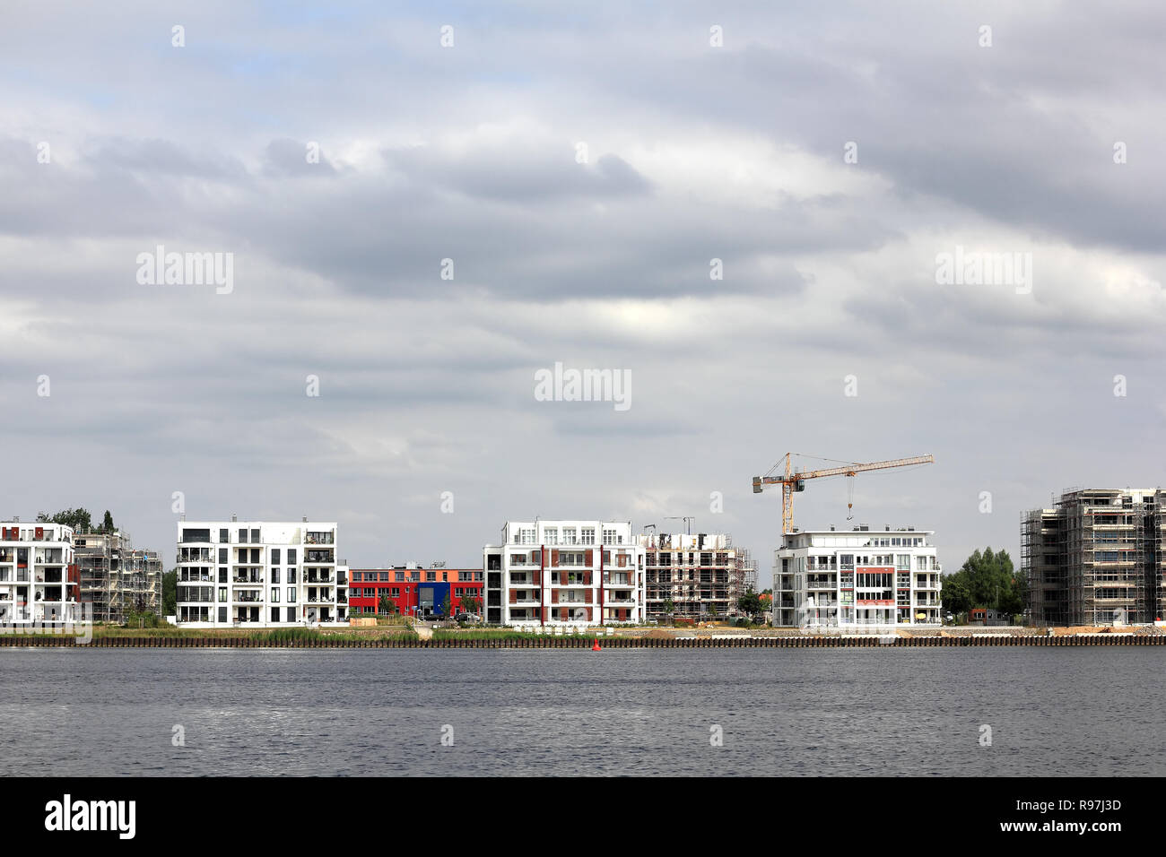 Urban villas at the inner Ziegelsee in Schwerin - Stock Image