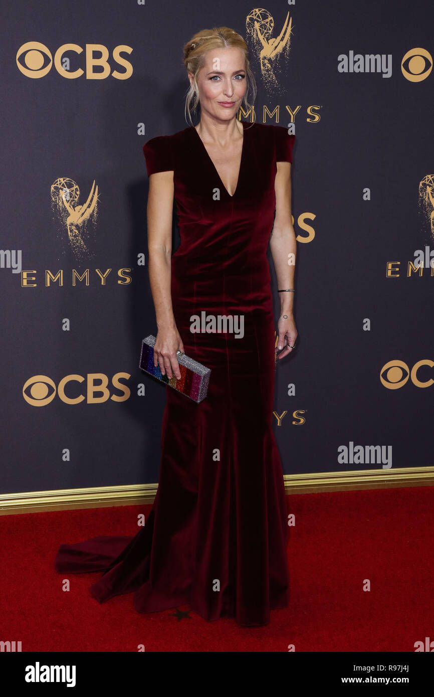 LOS ANGELES, CA, USA - SEPTEMBER 17: Gillian Anderson arrives at the 69th Annual Primetime Emmy Awards held at Microsoft Theater at L.A. Live on September 17, 2017 in Los Angeles, California, United States. (Photo by Xavier Collin/Image Press Agency) Stock Photo
