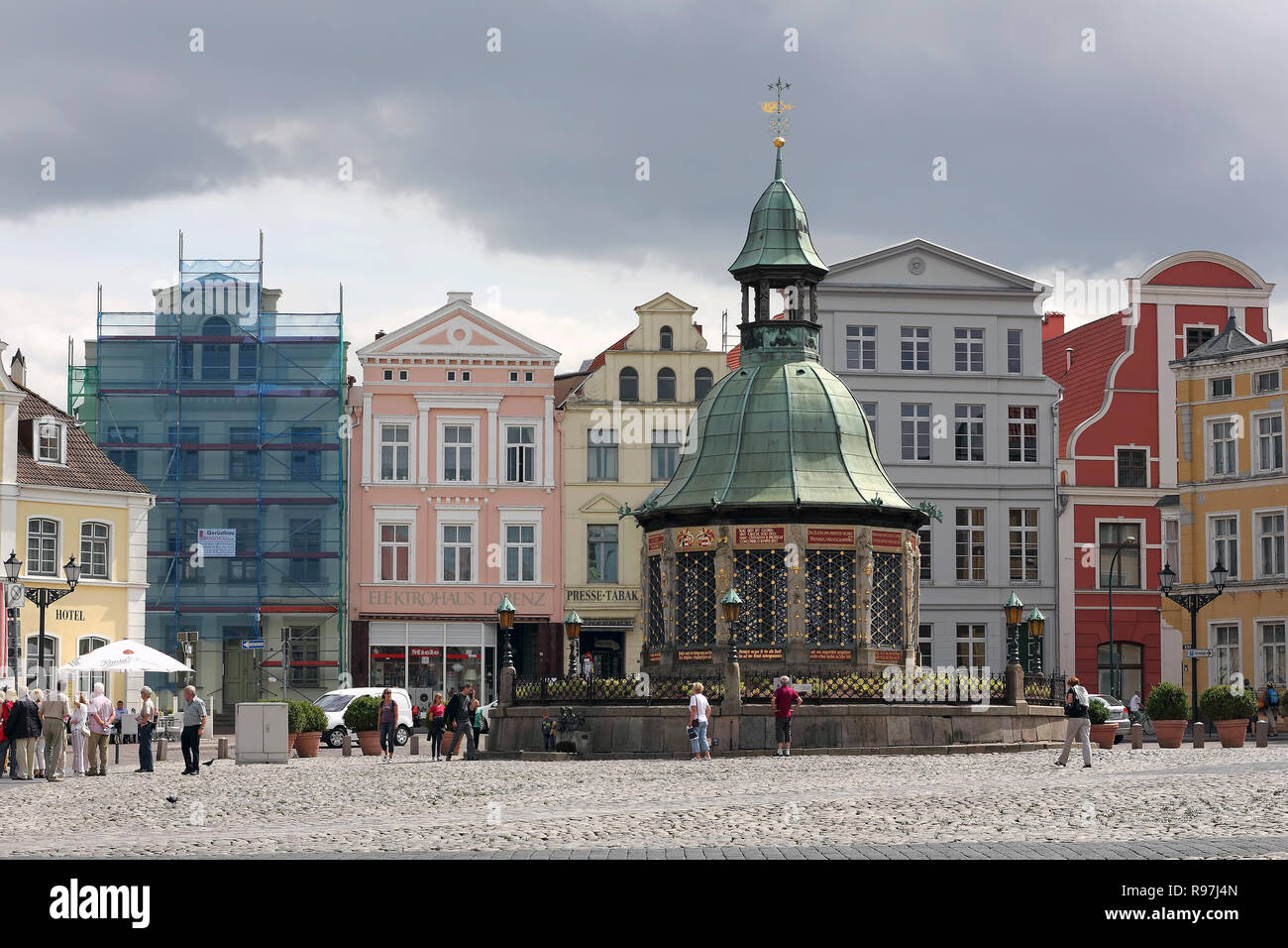 The famous waterworks at market place of Wismar in Germany, built in 1602 - Stock Image
